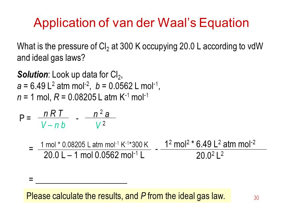 Application of van der Waal's Equation