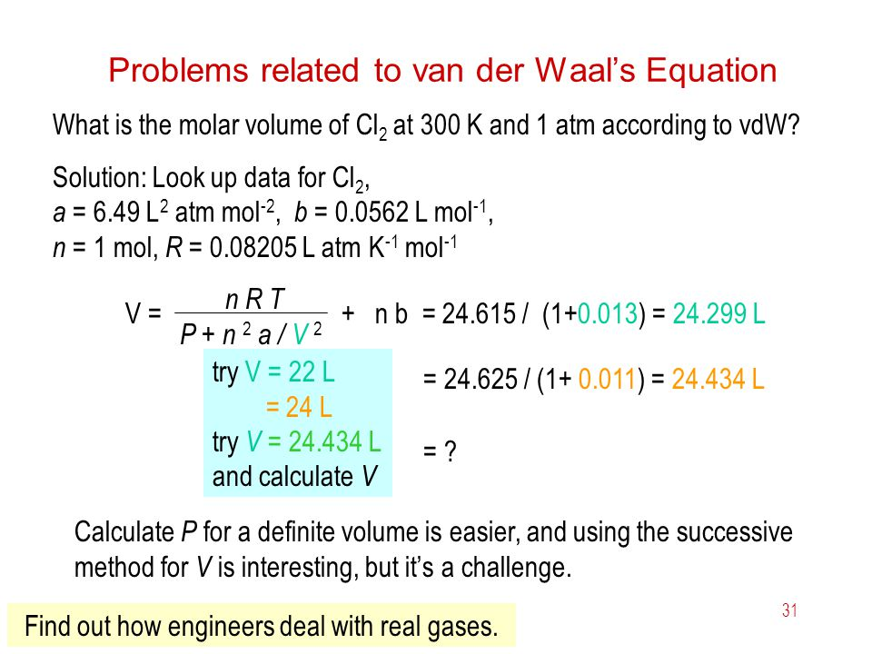 Problems related to van der Waal's Equation