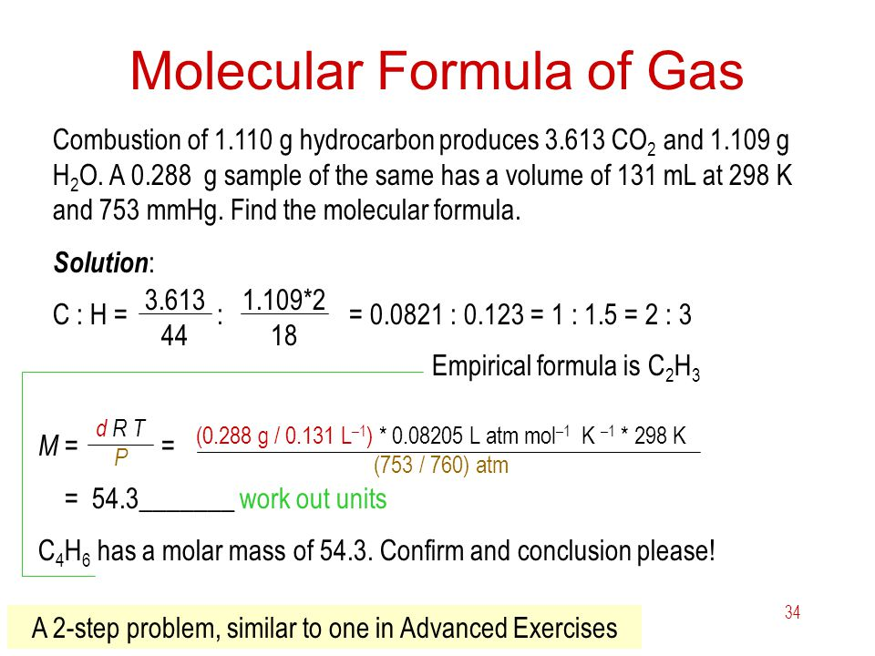 Molecular Formula of Gas