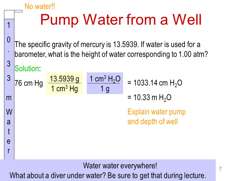 Pump Water from a Well No water!! 1 0. 3 3 m Wa t e r