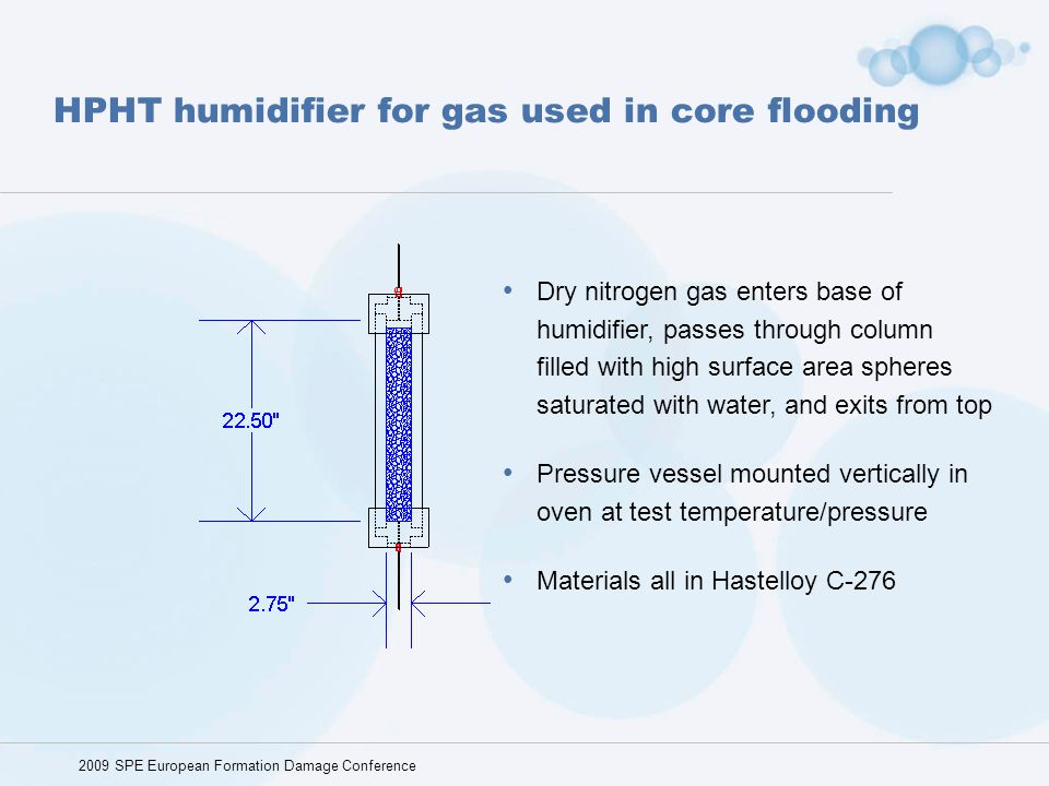 HPHT humidifier for gas used in core flooding