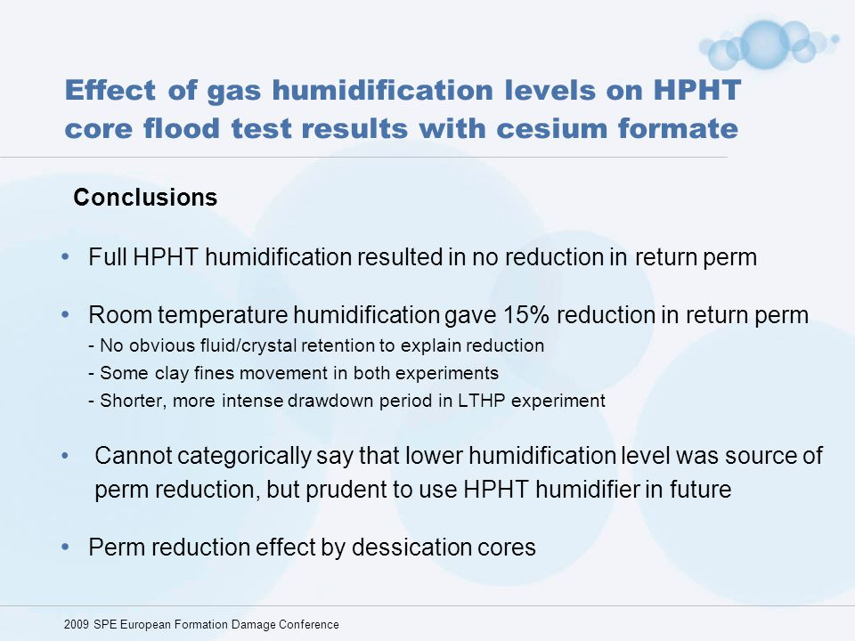 Effect of gas humidification levels on HPHT core flood test results with cesium formate