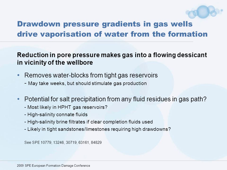 Drawdown pressure gradients in gas wells drive vaporisation of water from the formation