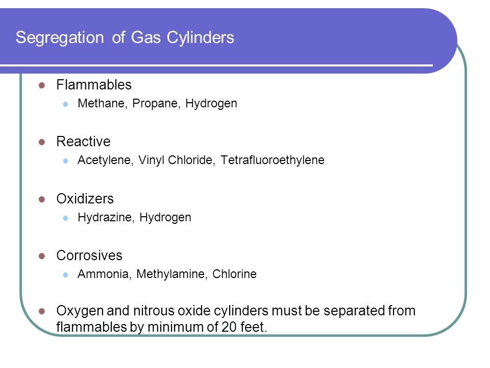 Segregation of Gas Cylinders