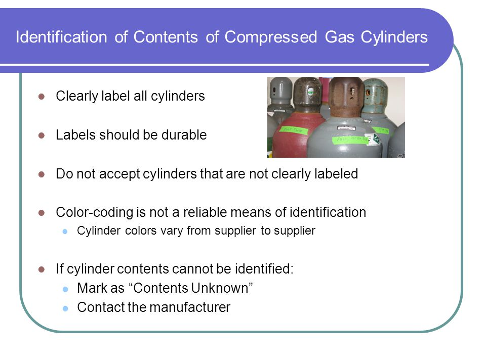 Identification of Contents of Compressed Gas Cylinders