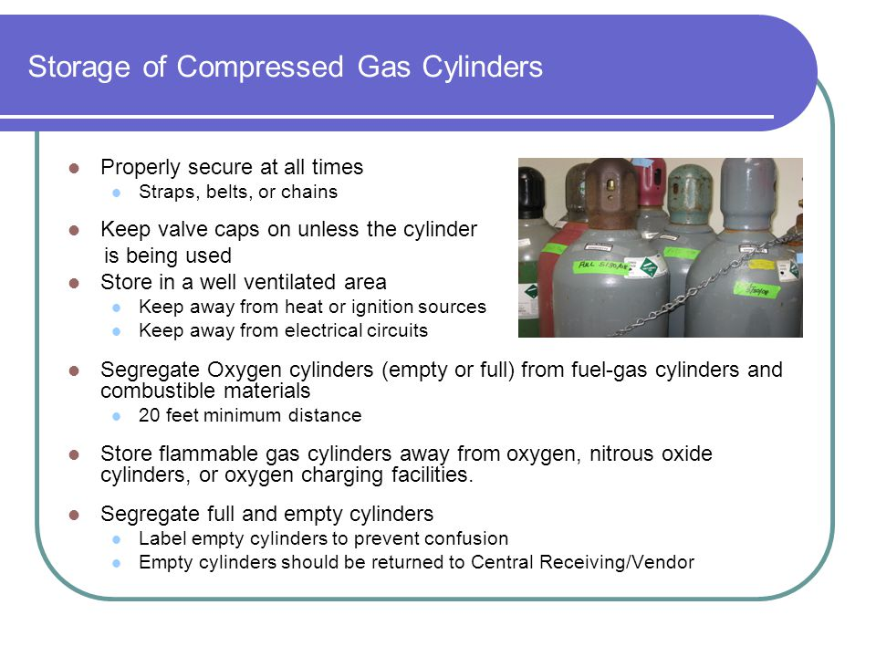 Storage of Compressed Gas Cylinders