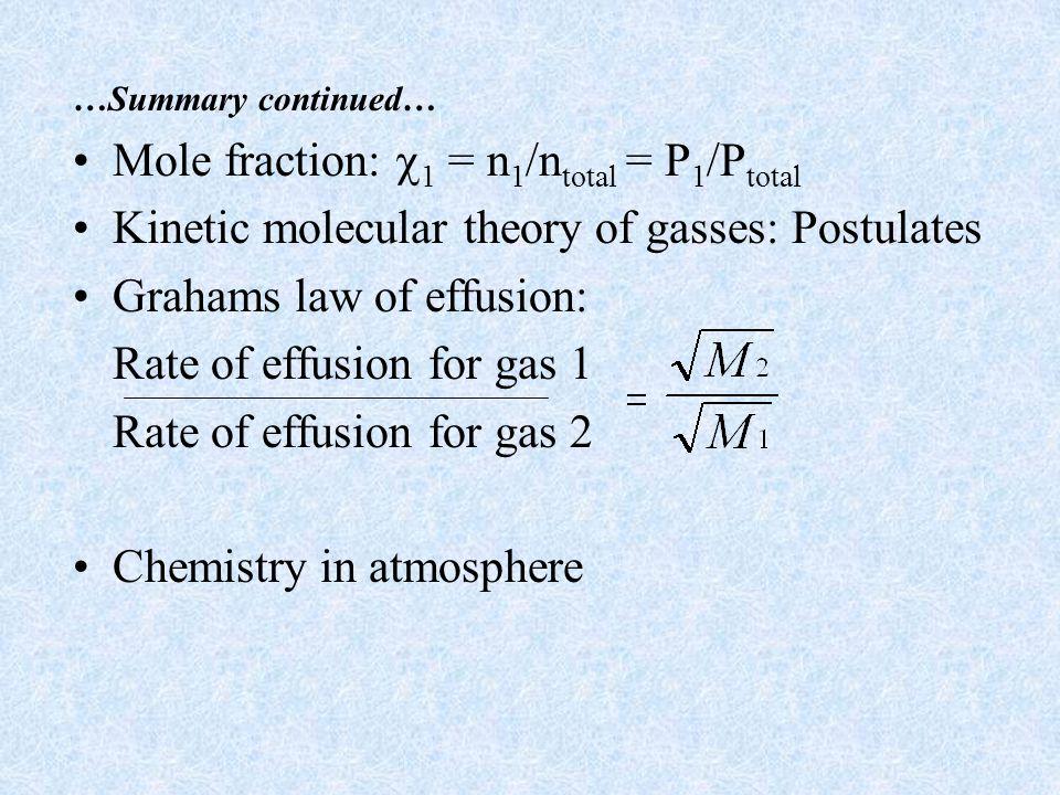 Mole fraction: 1 = n1/ntotal = P1/Ptotal
