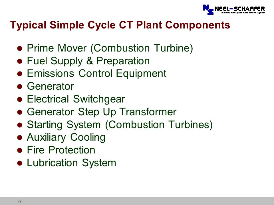 Typical Simple Cycle CT Plant Components