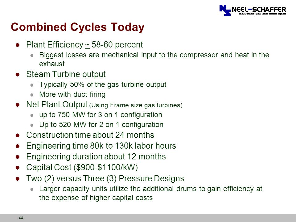 Combined Cycles Today Plant Efficiency ~ percent