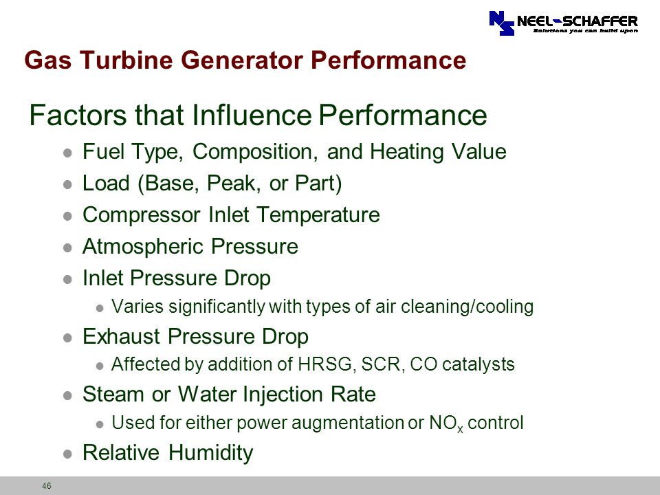 Gas Turbine Generator Performance