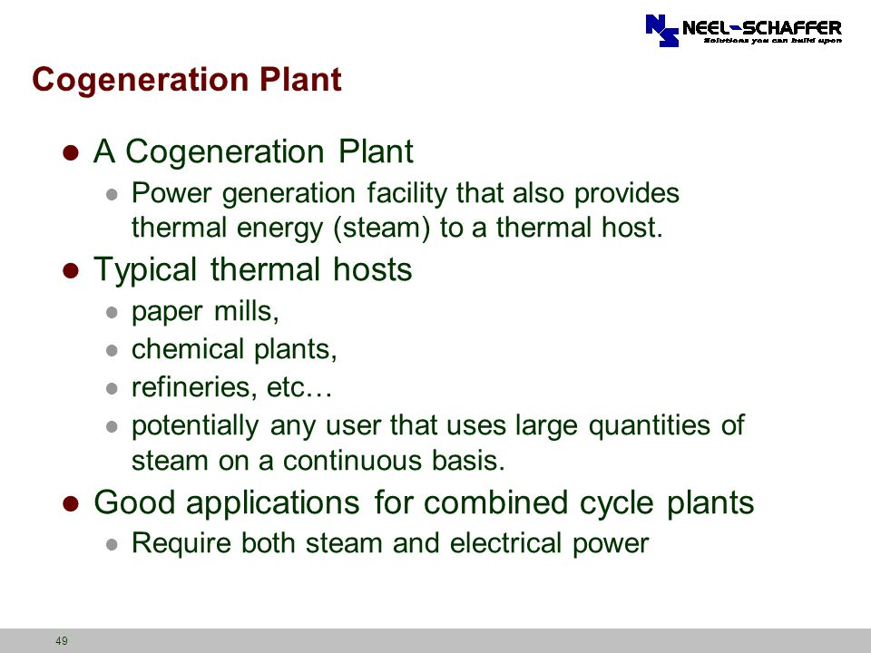 Good applications for combined cycle plants