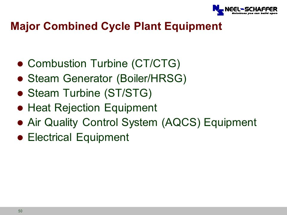 Major Combined Cycle Plant Equipment