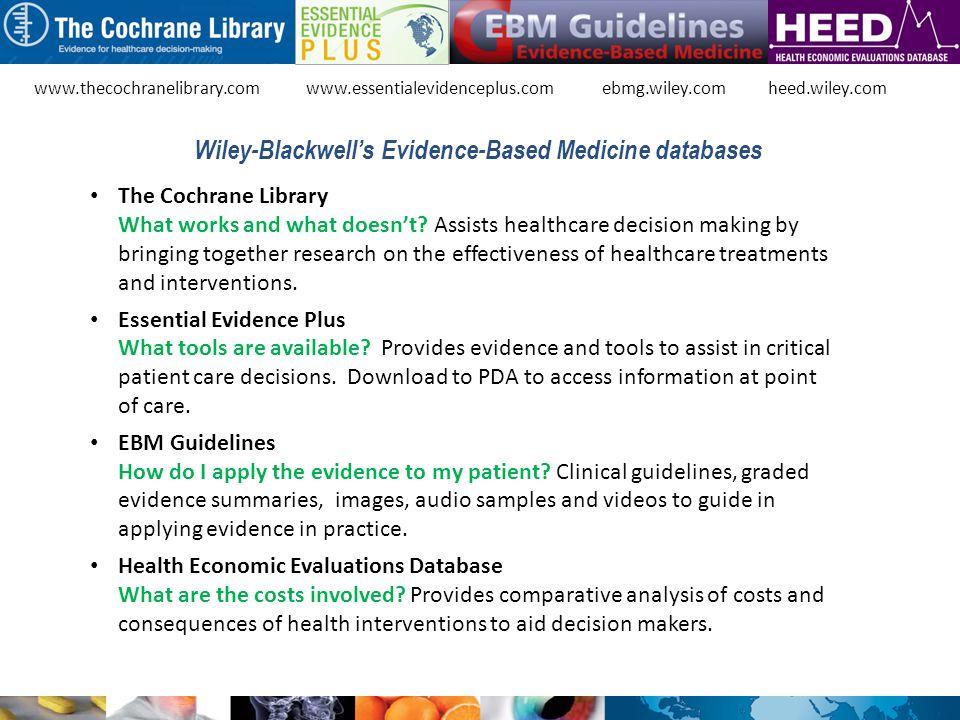 Wiley-Blackwell's Evidence-Based Medicine databases