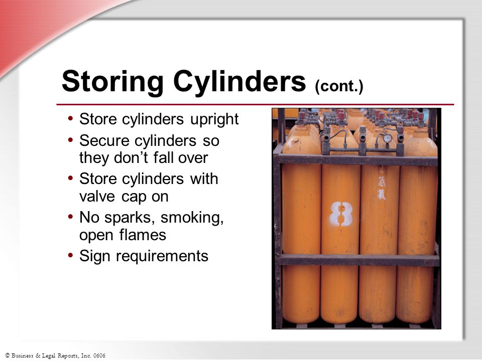 Storing Cylinders (cont.)