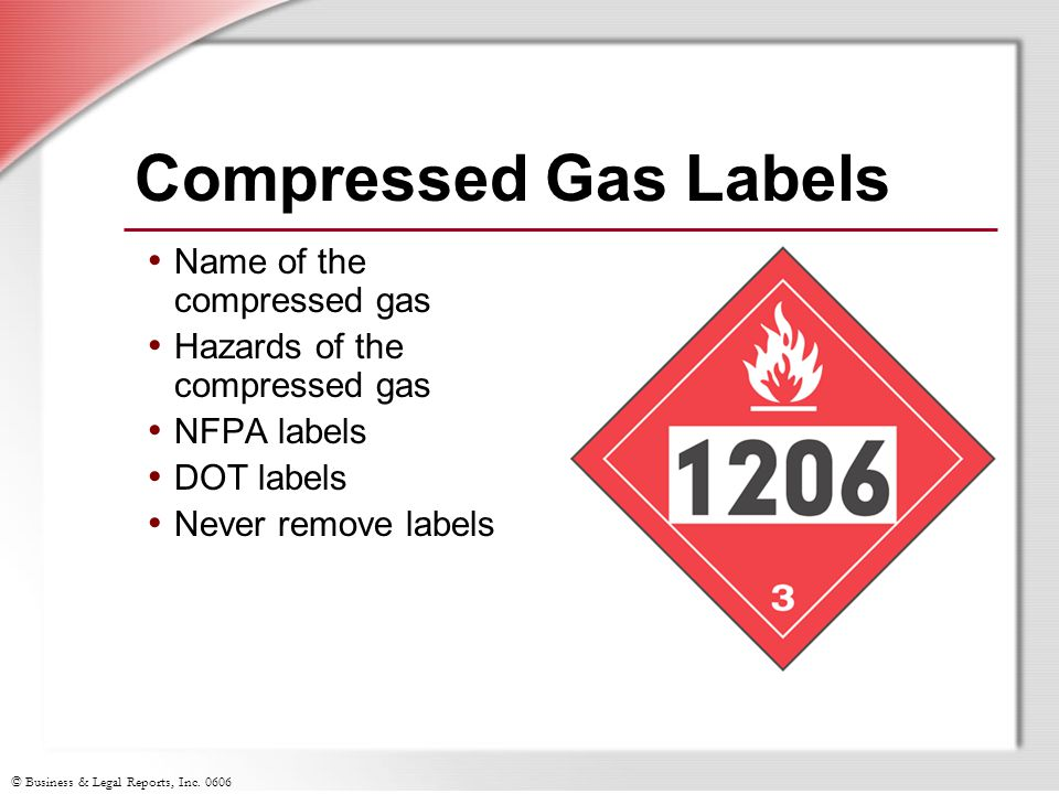 Compressed Gas Labels Name of the compressed gas