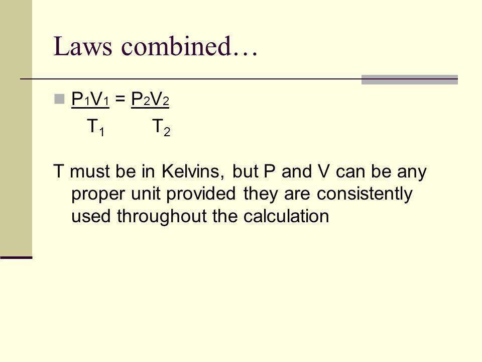 Laws combined… P1V1 = P2V2 T1 T2