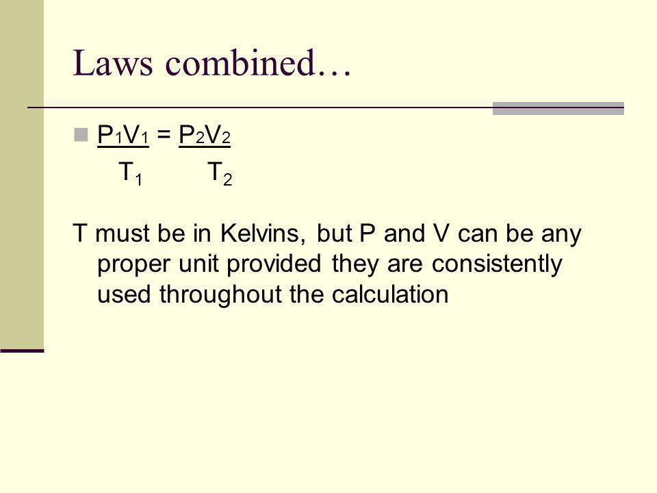 Laws combined… P1V1 = P2V2 T1 T2