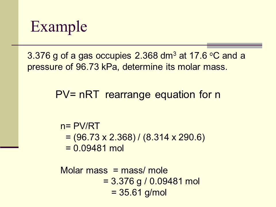 PV= nRT rearrange equation for n