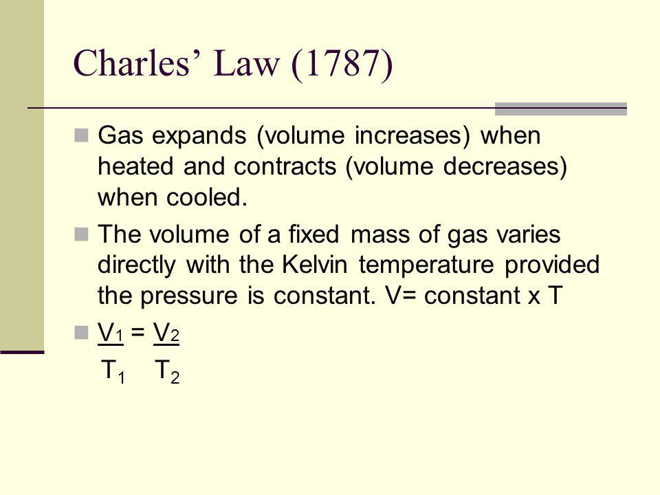 Charles' Law (1787) Gas expands (volume increases) when heated and contracts (volume decreases) when cooled.