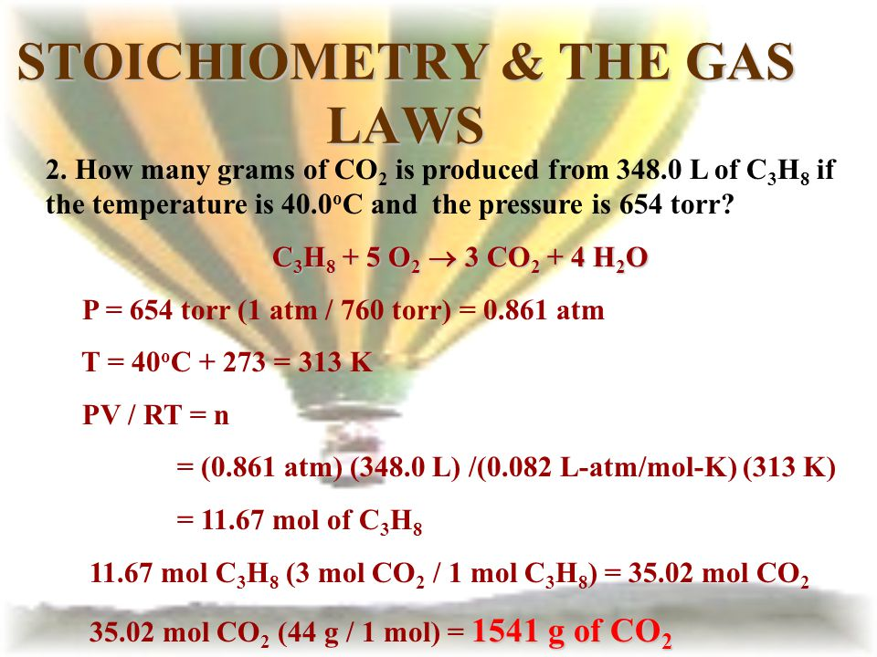 STOICHIOMETRY & THE GAS LAWS