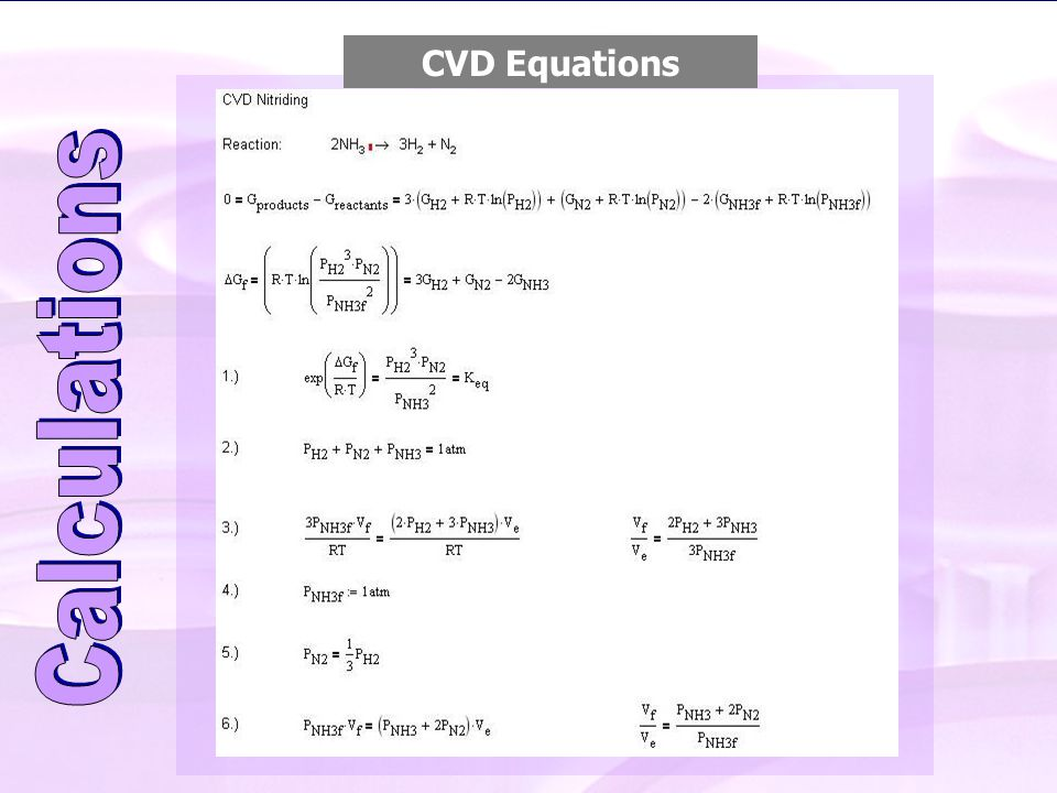 CVD Equations CVD Process Calculations