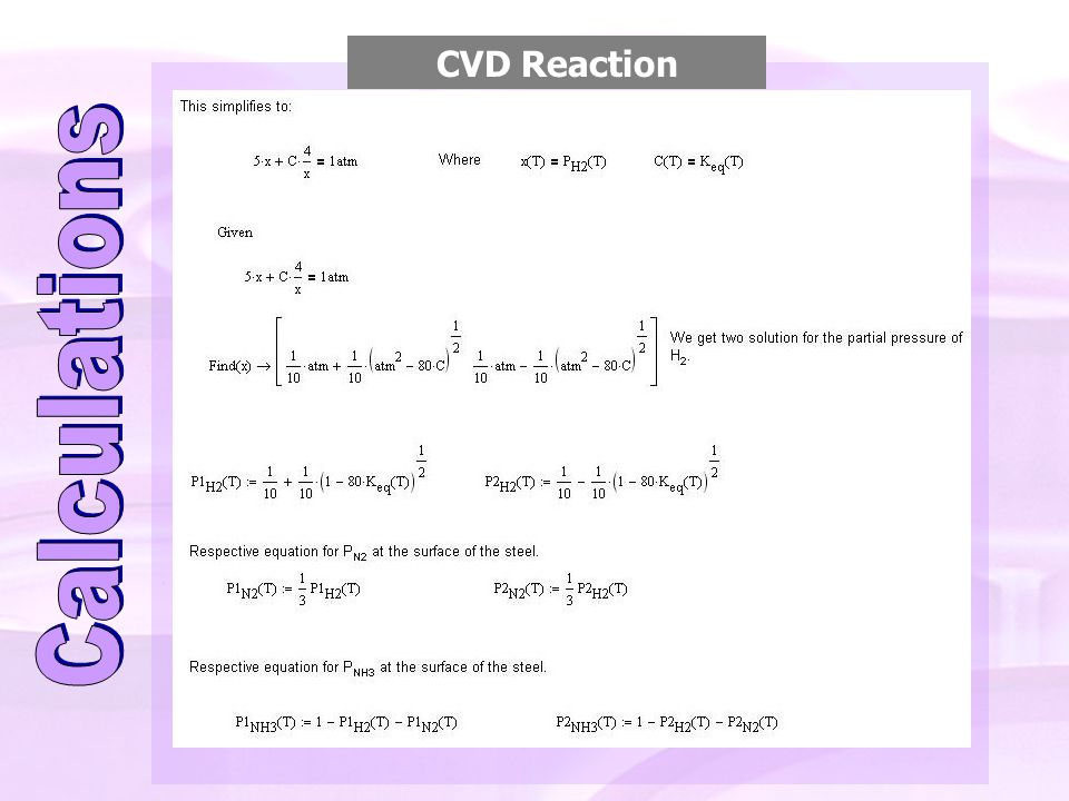 CVD Reaction Calculations