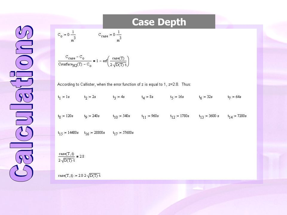 Case Depth Calculations