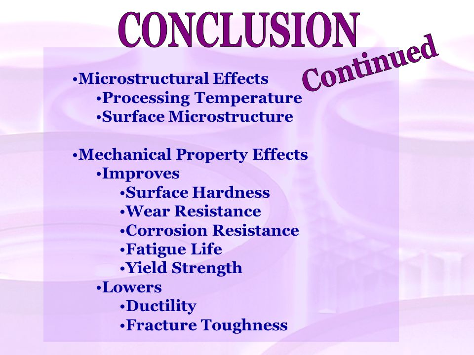 CONCLUSION Continued Microstructural Effects Processing Temperature