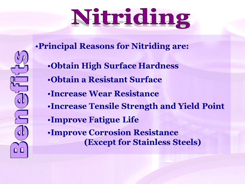 Nitriding Benefits Principal Reasons for Nitriding are: