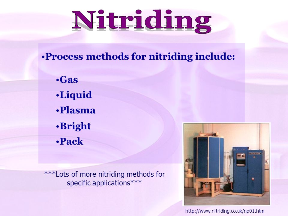 ***Lots of more nitriding methods for specific applications***