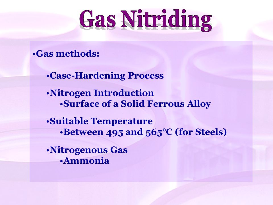 Gas Nitriding Gas methods: Case-Hardening Process