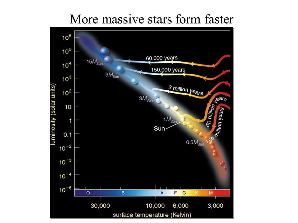 More massive stars form faster