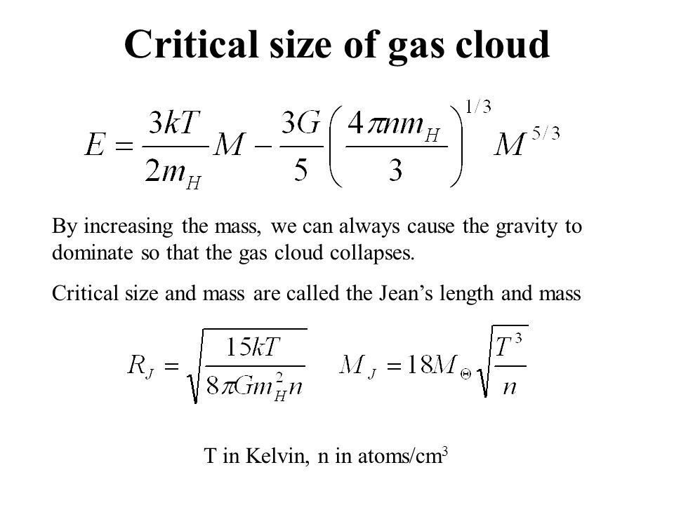 Critical size of gas cloud
