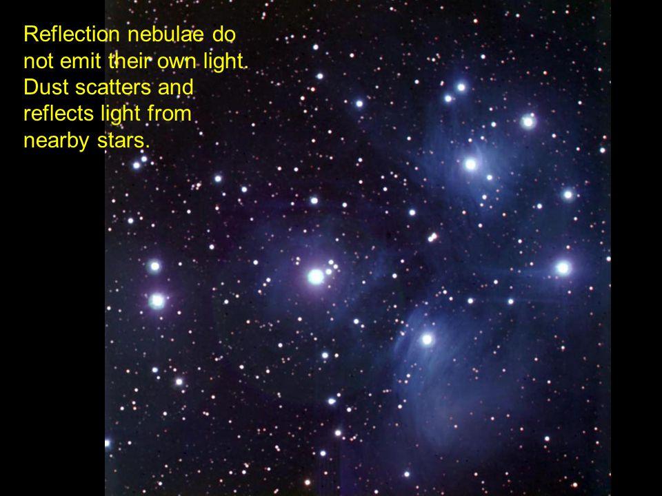 Reflection nebulae do not emit their own light