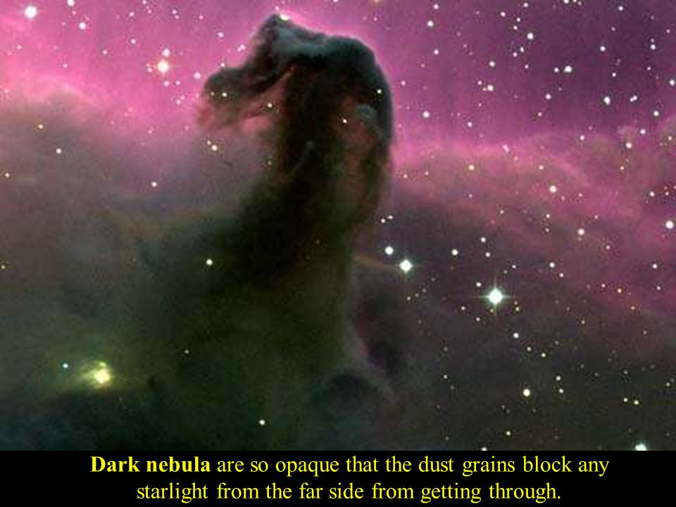 Dark nebula Dark nebula are so opaque that the dust grains block any starlight from the far side from getting through.
