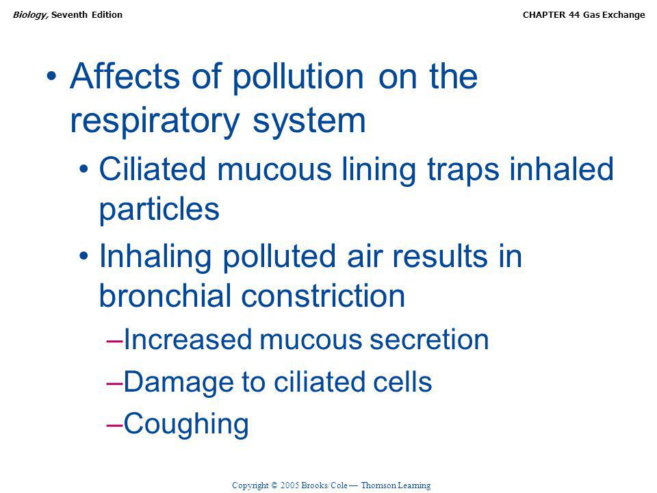 Affects of pollution on the respiratory system