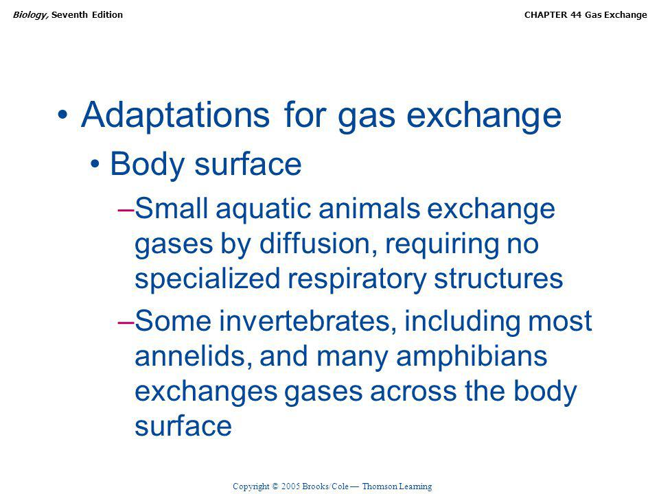 Adaptations for gas exchange