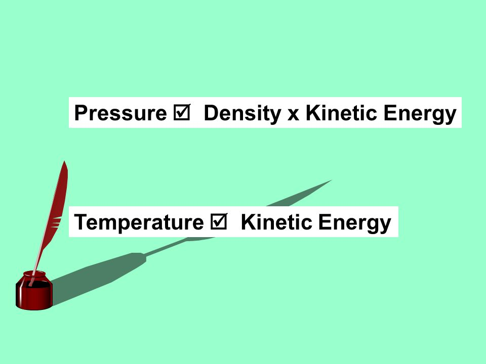 Pressure  Density x Kinetic Energy