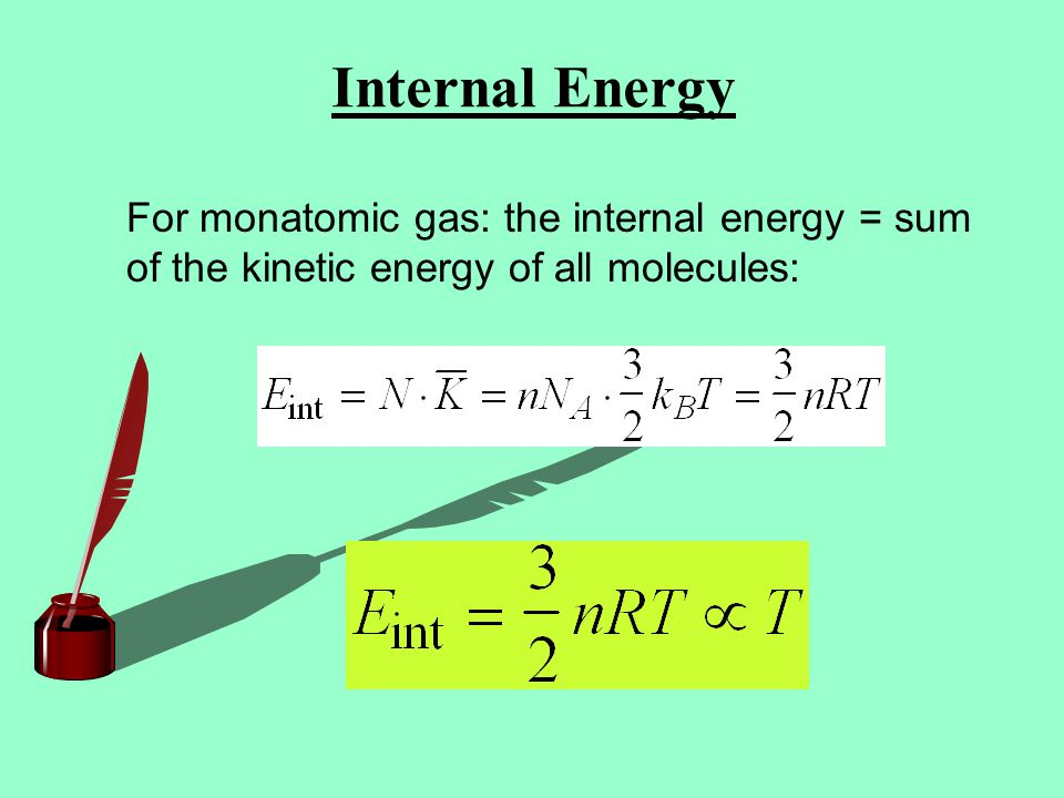 Internal Energy For monatomic gas: the internal energy = sum