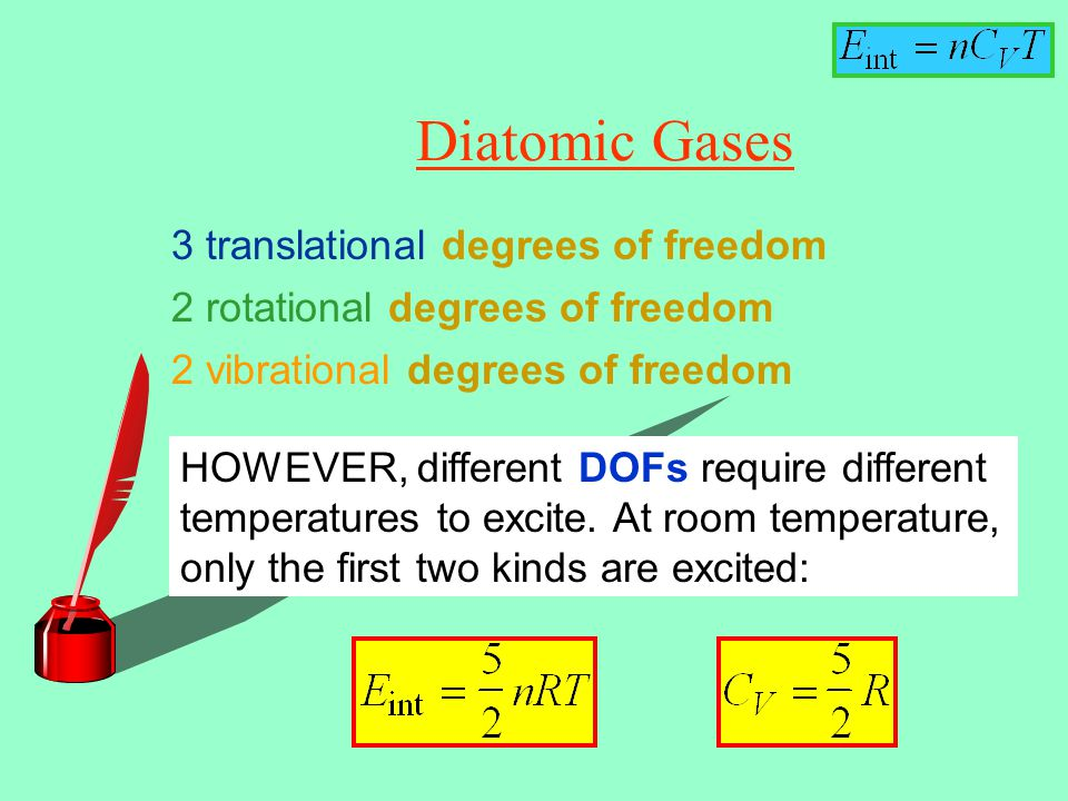 Diatomic Gases 3 translational degrees of freedom