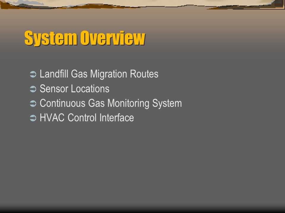 System Overview Landfill Gas Migration Routes Sensor Locations