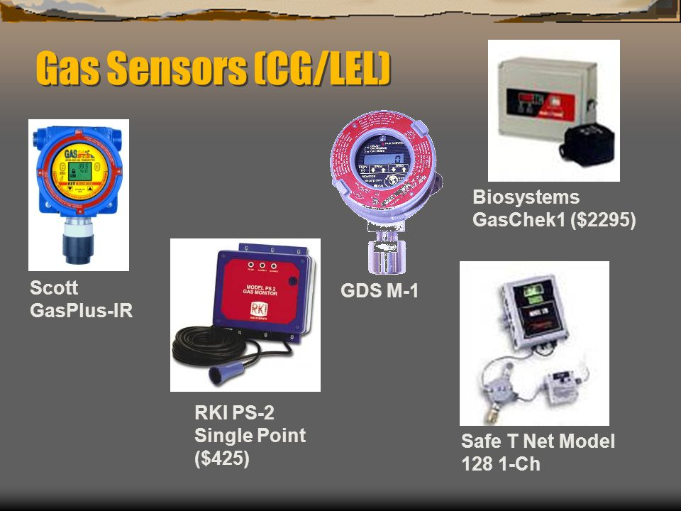 Gas Sensors (CG/LEL) Biosystems GasChek1 ($2295) Scott GasPlus-IR