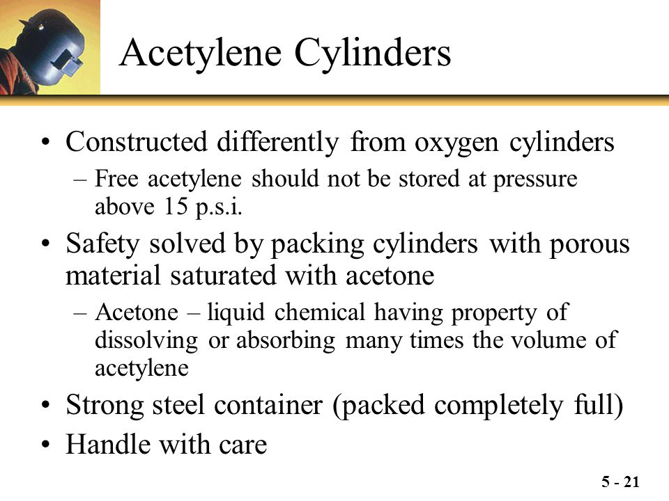 Acetylene Cylinders Constructed differently from oxygen cylinders