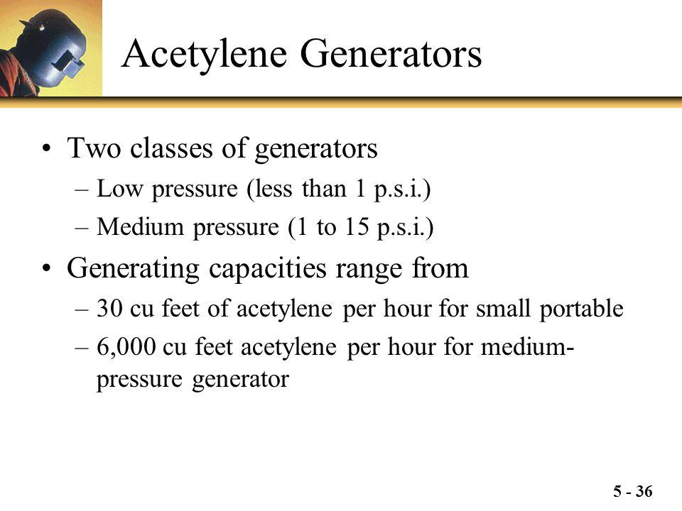 Acetylene Generators Two classes of generators