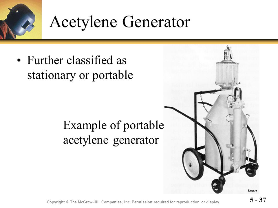 Acetylene Generator Further classified as stationary or portable