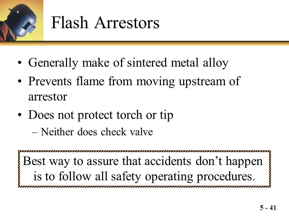 Flash Arrestors Generally make of sintered metal alloy