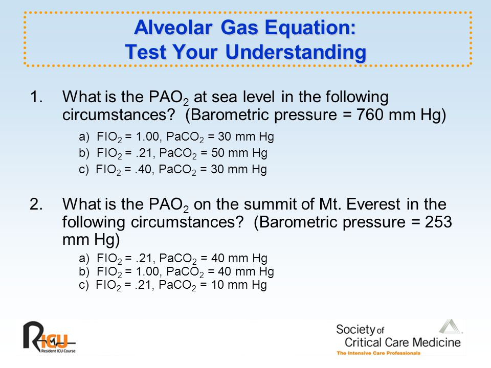 Alveolar Gas Equation: Test Your Understanding