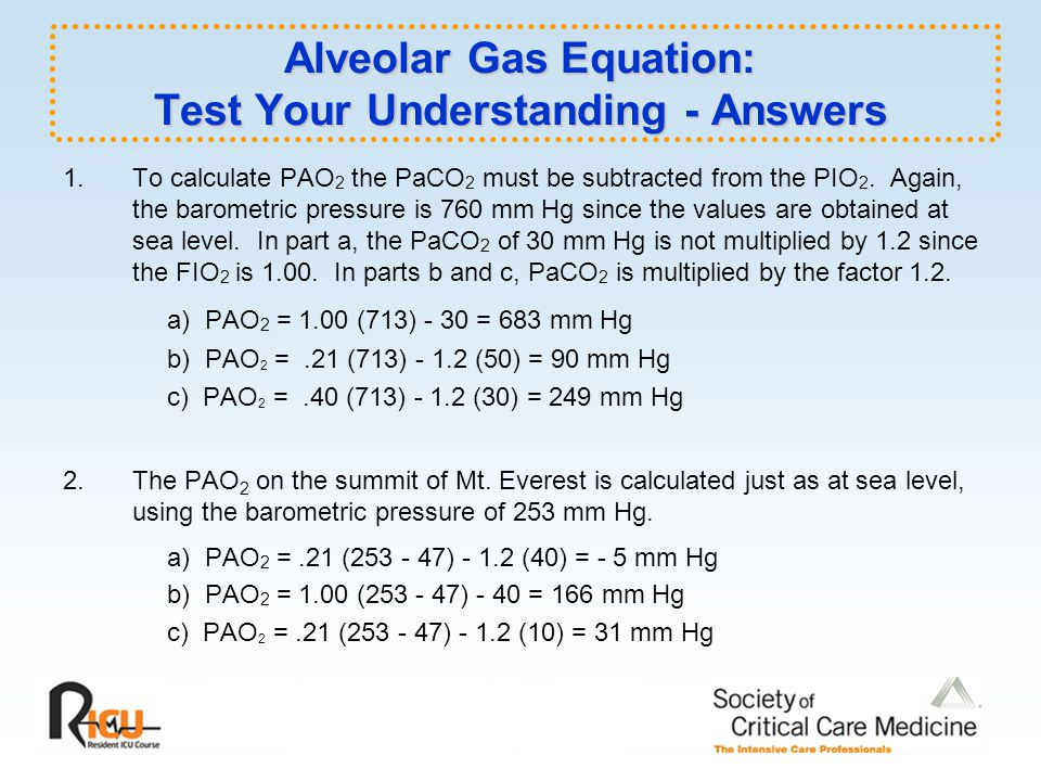 Alveolar Gas Equation: Test Your Understanding - Answers