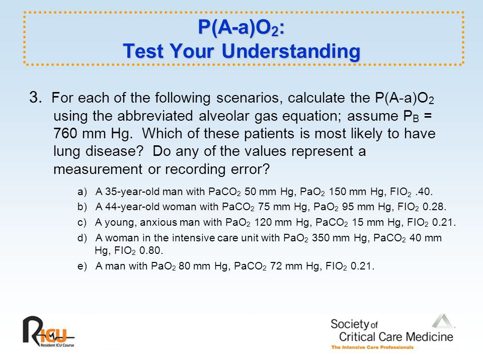 P(A-a)O2: Test Your Understanding