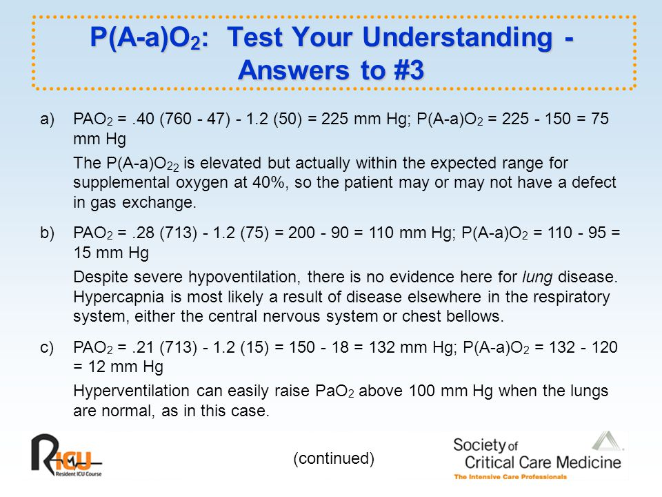 P(A-a)O2: Test Your Understanding - Answers to #3